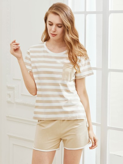 Striped Pocket Tee With Shorts Pajama Set