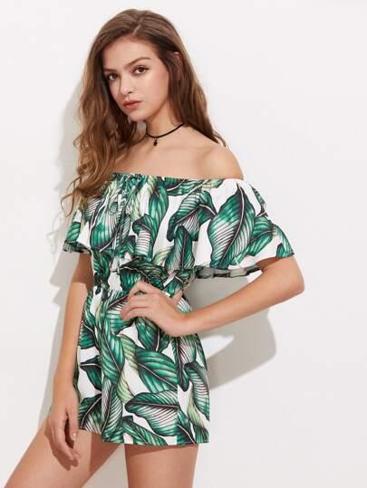 Jungle Leaf Print Flounce Bardot Playsuit