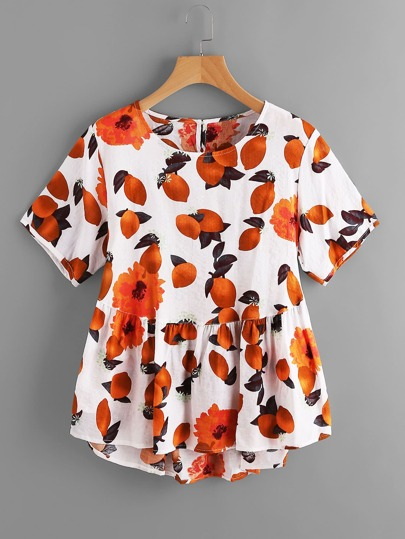 Fruits Print Keyhole Back Dip Hem Smock Top