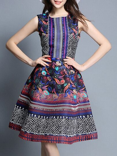 Backless Tribal Print A-Line Dress