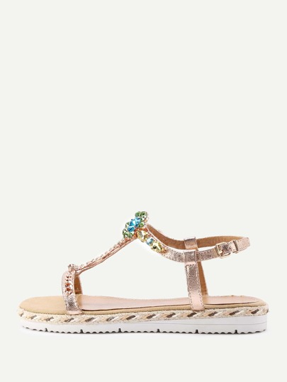 Rhinestone Flower T Strap Sandals