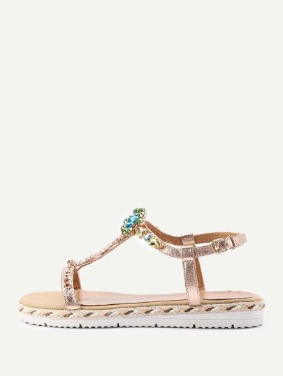 Sandales avec bretelle et fleur en strass