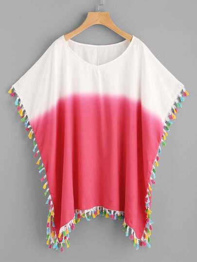 Color Block Tassel Trim Beach Kaftan