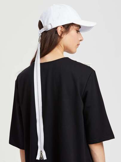 Baseball Cap With Zipper Strap