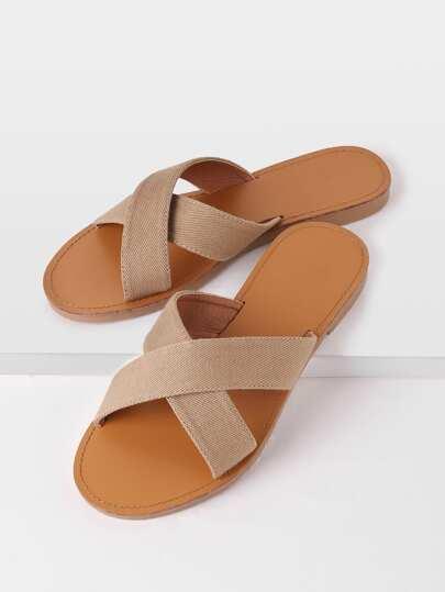 Sandales à lacets en denim