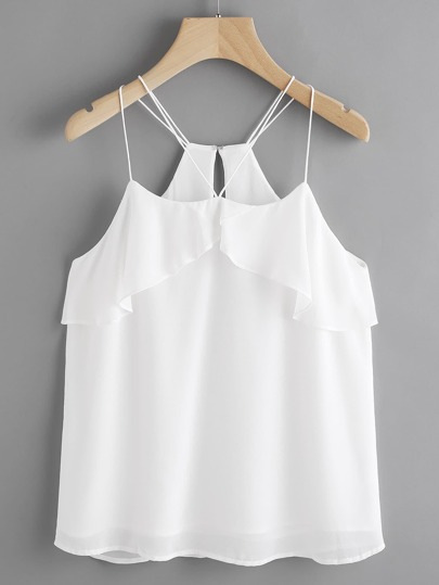 Double Strappy Frill Layered Chiffon Cami Top