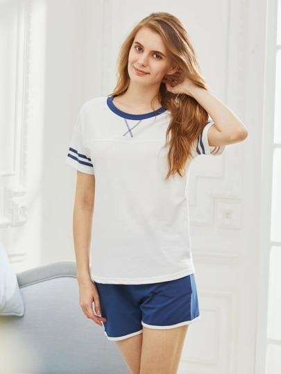Striped Trim Tee With Shorts Pajama Set
