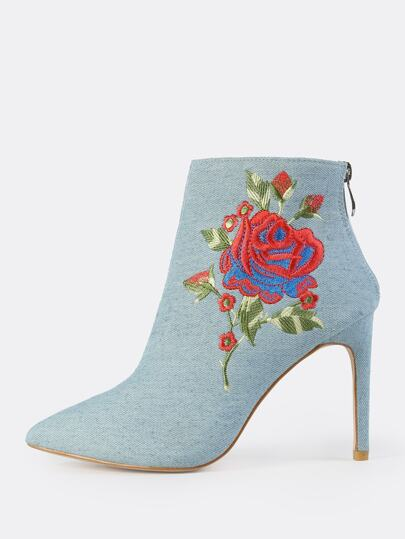 Point Toe Embroidered Denim Booties DENIM