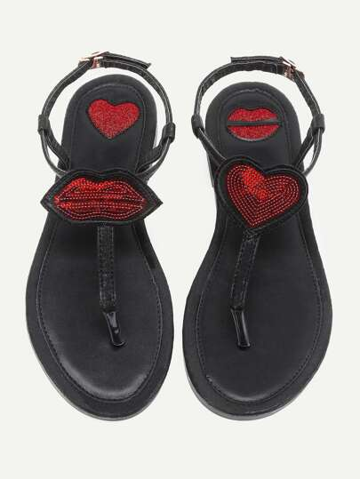 Heart And Lip Design Toe Post Sandals
