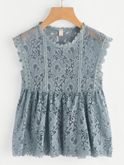 Scalloped Trim Lace Smock Top