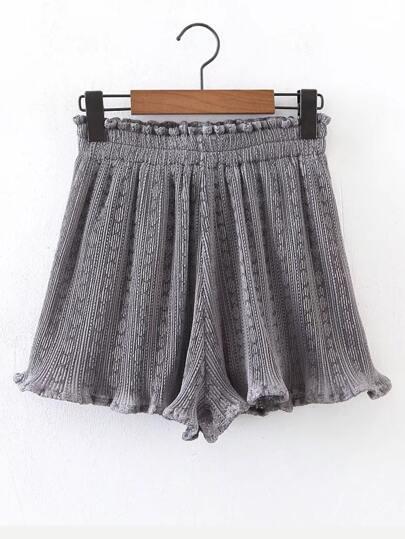 Elastic Waist Lettuce Hem Textured Shorts