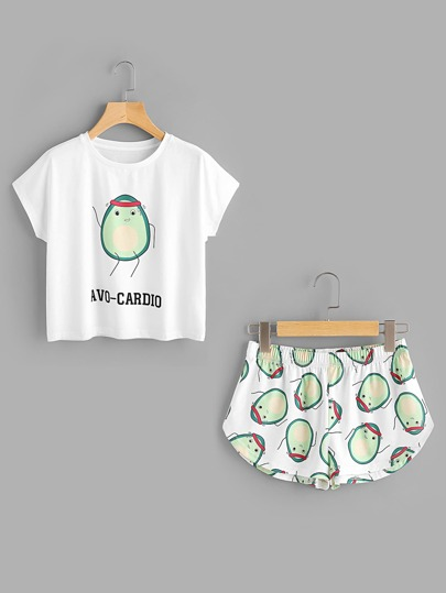 Tee-shirt imprimé de l'animation de avocat & Shorts
