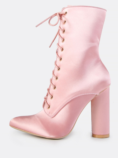 Lace Up Satin Booties PINK