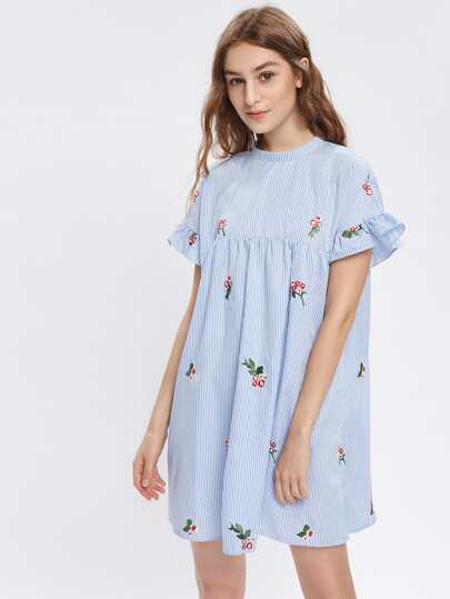Bow Tie Back Frill Sleeve Embroidered Striped Babydoll Dress