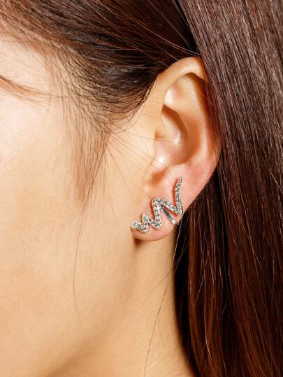 Rhinestone Decorated Wave Design Mismatch Ear Cuffs