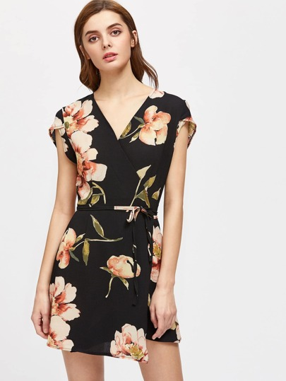 Flowers Print Cap Sleeve Wrap Dress