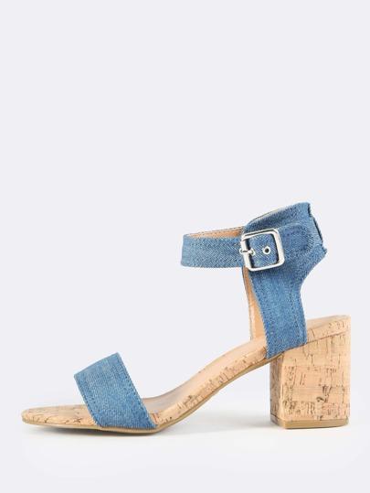 Denim Cork Heeled Sandals BLUE DENIM
