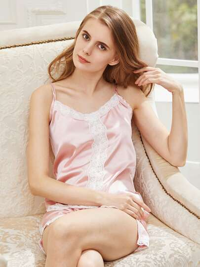 Satin Contrast Lace Trim Cami Pajama Set