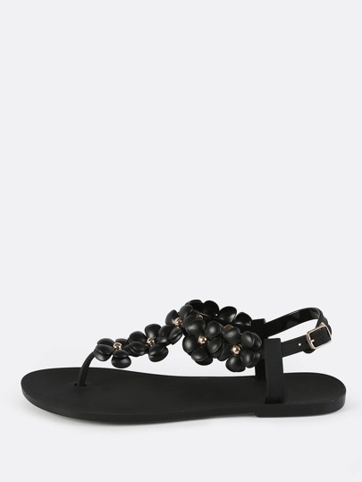 Floral Jelly Thong Sandals BLACK