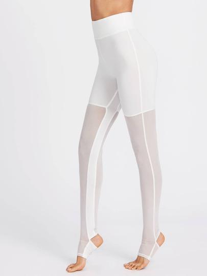 Leggings mit breiter Tailleband,Steg und Netz