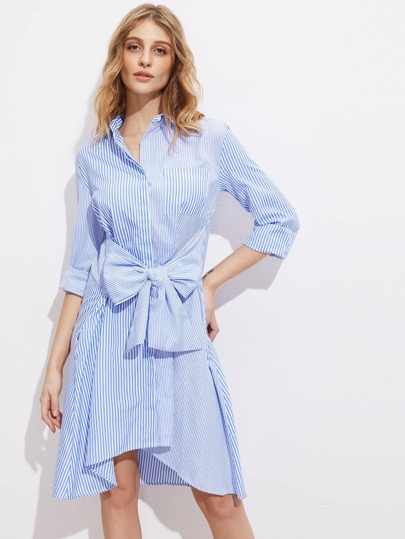 Exaggerated Bow Belt Hidden Placket Mixed Stripe Shirt Dress