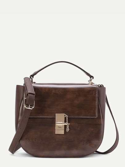Twist Lock PU Crossbody Bag
