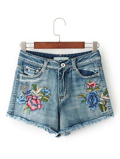 High Waist Raw Hem Embroidery Denim Shorts