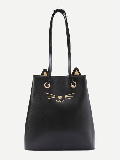 Cat Pattern PU Tote Bag With Cute Ear