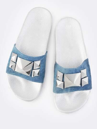 Embellished Stud Metallic Slides BLUE