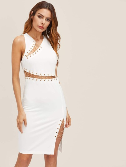 Lace Up Grommet Peekaboo Dress