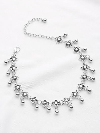 Metal Beaded And Flower Decorated Chain Anklet