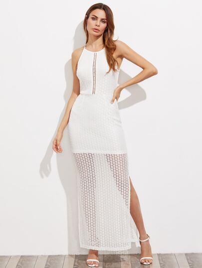 Модное кружевное макси платье на бретельках