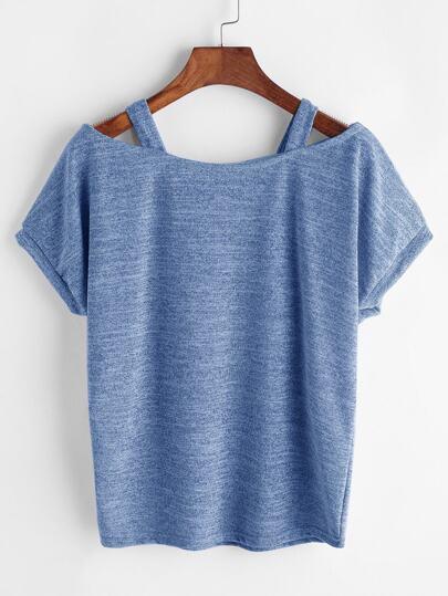 Schulterfreies T-Shirt mit Slub