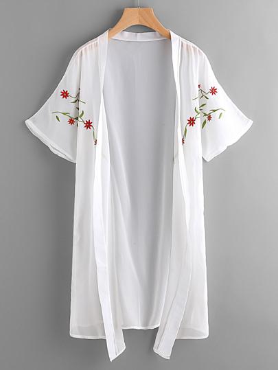 Kimono in chiffon con ricamo simmetrico