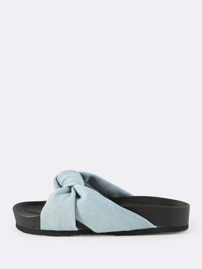 Denim Twist Knot Slip On Flatforms DENIM