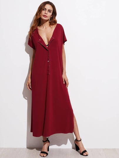 Button Front Slit Maxi Dress