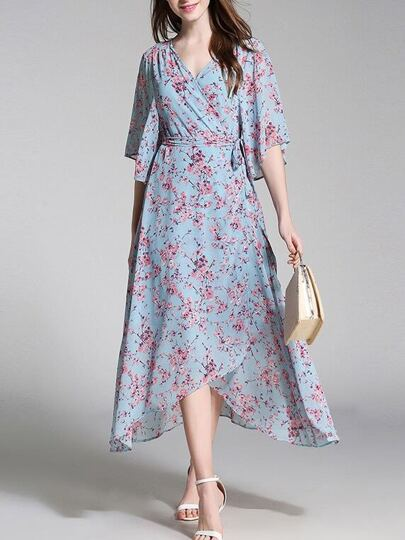 V Neck Floral Asymmetric Dress