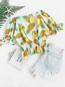 Bardot Pineapple Print Shirred Top