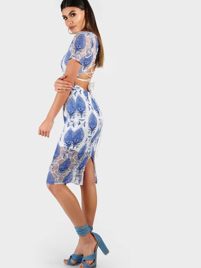 Tropical Print Bodycon Dress BLUE MULTI
