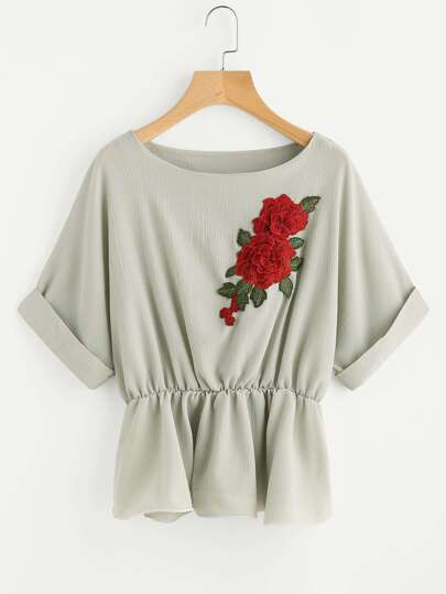 Roll Sleeve Applique Frill Hem Top