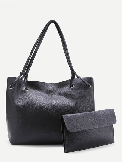 PU Tote Bag With Foldover Clutch Bag