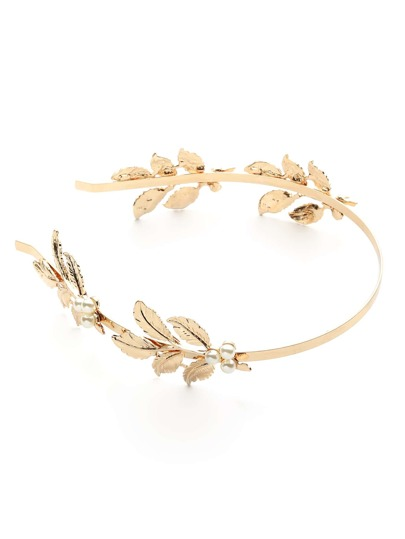 Faux Pearl & Leaf Embellished Headband