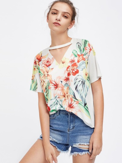 Choker Neck Drop Shoulder Tropical T-shirt
