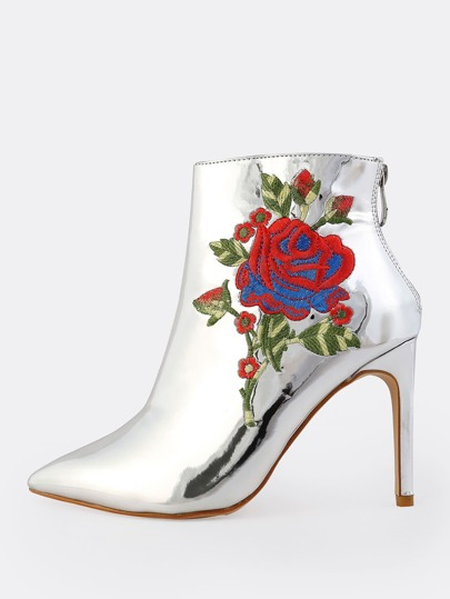 Embroidered Metallic Booties SILVER