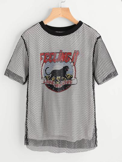 Camiseta en rejilla 2 en 1