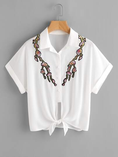 Embroidered Blossom Applique Tie Front Cuffed Blouse
