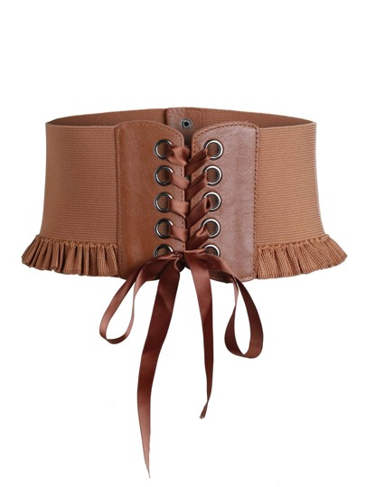 Frill Trim Eyelet Lace Up Corset Belt