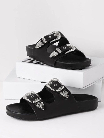 Double Buckle Design PU Slides