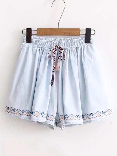 Drawstring Waist Embroidery Denim Shorts