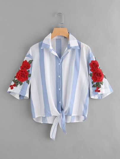 Embroidered Appliques Striped Knot Front Dip Hem Blouse